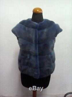 Dark Blue Mink Gilet De Fourrure Taille Xs / S / M / L 100% De Qualité Supérieure