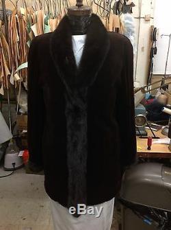 Dark Brown Ou Noir Qualité Taillés Vison Reversible Poussette 32 Nouveau Coat