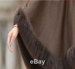 De Haute Qualité En Cachemire Réel Fox Fourrure Cape Poncho / Cap / Manteau / 5colors