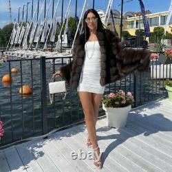 De Haute Qualité Hiver Dark Sable Natural Fox Fourrure Manteau Femmes Mode Vêtements D'extérieur Chaud