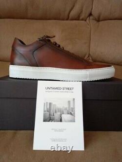 Designer De Qualité Supérieure En Cuir Italien Hommes / Garçons Sneakers / Entraîneurs Brun Foncé Uk 8