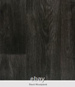 Designer Noir / Charcoal Wood Plank Vinyl Cushion Floor Quality Lino 3mm
