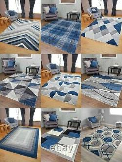 Dk Blue Rugs Thick Quality Hand Carved Grey Silver Soft Mats Hall Runners Bon Marché