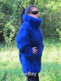 Femme Biscuits Haute Qualité Mohair Bleu Foncé Pull À Col Roulé Bouffante