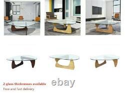 Fit Noguchi Style Table Basse De Haute Qualité 19mm Verre Top Wood Base Table D'extrémité