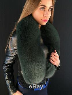 Fox Col De Fourrure De 50' Saga Furs Stole Dark Green Fur Big Écharpe De Fourrure De Qualité La Plus Élevée