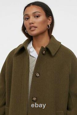 H&m Premium De Qualité Laine-blend Coat En Vert Kaki Foncé Taille Petite S