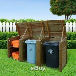 Haute Qualité Bespoke Bois Wheelie / Bac De Recyclage De Stockage Lumière Ou De Couleur Foncée