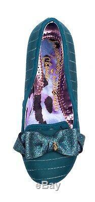 Irregular Choice Nouveau Kanjanka Sarcelles Paillettes Bande Vert Foncé Chaussures MI Talon 3-9
