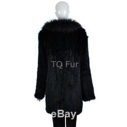 Lapin Knit Long Vrai Manteau De Fourrure Avec Col De Fourrure De Raton Laveur Veste Chaud De Qualité Supérieure