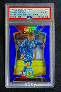 Lionel Messi 2015 Panini Select Blue Prizm Réfractaire Dark Jersey Sp Psa 10 /299