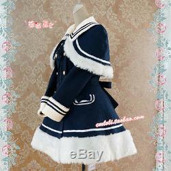 Lolita De Haute Qualité Marine Foncé En Peluche Bleu Manteau Robe Épais Avec Châle Navire Gratuit