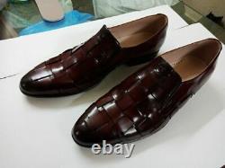 Main Homme Foncé Bourgogne Bracelet En Cuir Mocassins Mocassins Chaussures Hommes Qualité