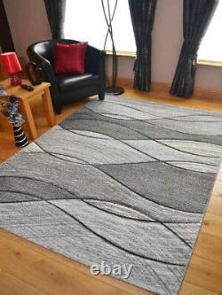 New Quality Light Dark Silver Grey Waves Design Mats Rugs Long Hall Runner Pas Cher