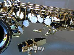 Nickel Foncé Et Or Courbé Soprano Sax Saxophone Sib Haute Qualité Inc