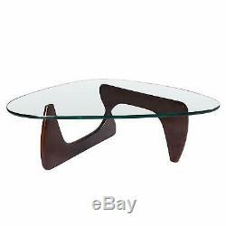 Noguchi Table Basse Replica Plus Haute Qualité Matériel Verre Haut Bois Foncé Noyer
