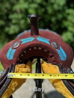 Nouveau 16 Foncé Huilée Roughout Barrel Racing Circle Selle. Qualité Cheval Tack