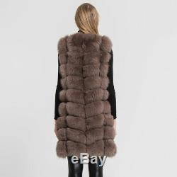Nouveau Les Femmes En Fourrure De Renard Réel Gilet 9 Lignes De Haute Qualité En Fourrure Sans Manches Winter67365 Veste Sans Manches