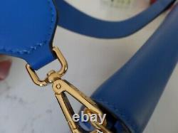 Nouveau Sac À Bandoulière En Cuir Bleu Foncé De Qualité Etro Avec Poignée Brodée, Italie