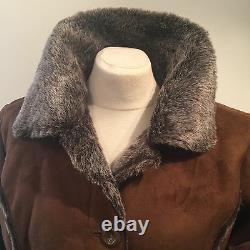 Nwt Quality Rust Faux Suede/shearling/dark Fur Long Veste-short Coat Buste 42