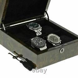 Premium Quality Dark Burl Wood Watch Box Pour 6 Montres Avec Couvercle Solide Par Aevitas