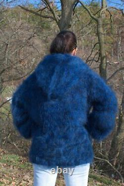 Pull Pull À Capuche Noir Noir Bleu Foncé Mohair De Haute Qualité Tricoté À La Main