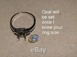 Qualité Bleu Foncé Et Vert Australien Opale Bague Argent 925