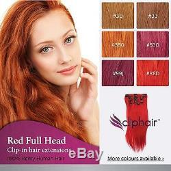 Qualité Finest Pince Rouge Dans Les Extensions De Cheveux. 100% Réel Human Hair Extensions