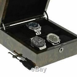 Qualité Haut De Gamme Noir Burl Bois Montres Collectors Box Pour 6 Montres Avec Couvercle Solide