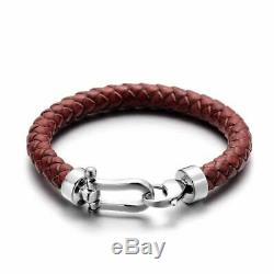 Rouge Foncé Cuir Fermoir En Argent Bracelet De Qualité Supérieure Pour Les Hommes A699 Bijoux