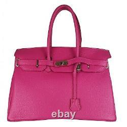Sac Femme Cuir Véritable Fabriqué En Italie De Haute Qualité Fg Birk Dark Pink