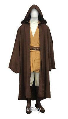 Star Wars Mace Windu Costume + Brun Foncé Jedi Robe Tournages Qualité Du Royaume-uni