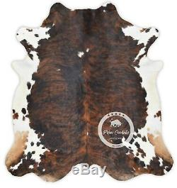 Tapis En Peau De Vache Noir Brindle Tricolor Haute Qualité Cheveux Sur Hide Sizelarge (l) A120