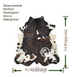 Tapis En Peau De Vache Noir Brindle Tricolor Haute Qualité Sur Cheveux Hide Sizejumbo (xl) A160