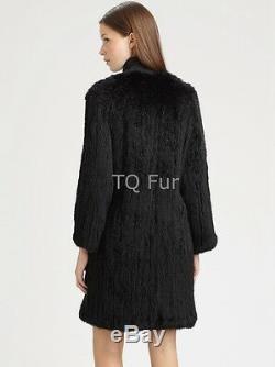 Tricoté Fourrure De Lapin Long Manteau Whit Poche Veste Chaude Pardessus Black Top Qualité