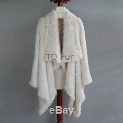 Véritable Vrai Lapin En Tricot De Fourrure Manteau Veste Pardessus Femmes Qualité Cascade A