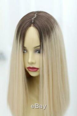 Yaffa Perruques Finest Qualité Moyenne Roots Blond Foncé Lace Front 100% Cheveux